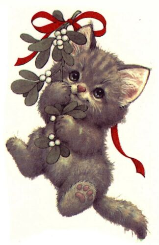 Christmas Kitten Cat Mistletoe Select-A-Size Ceramic Waterslide Decals Ox