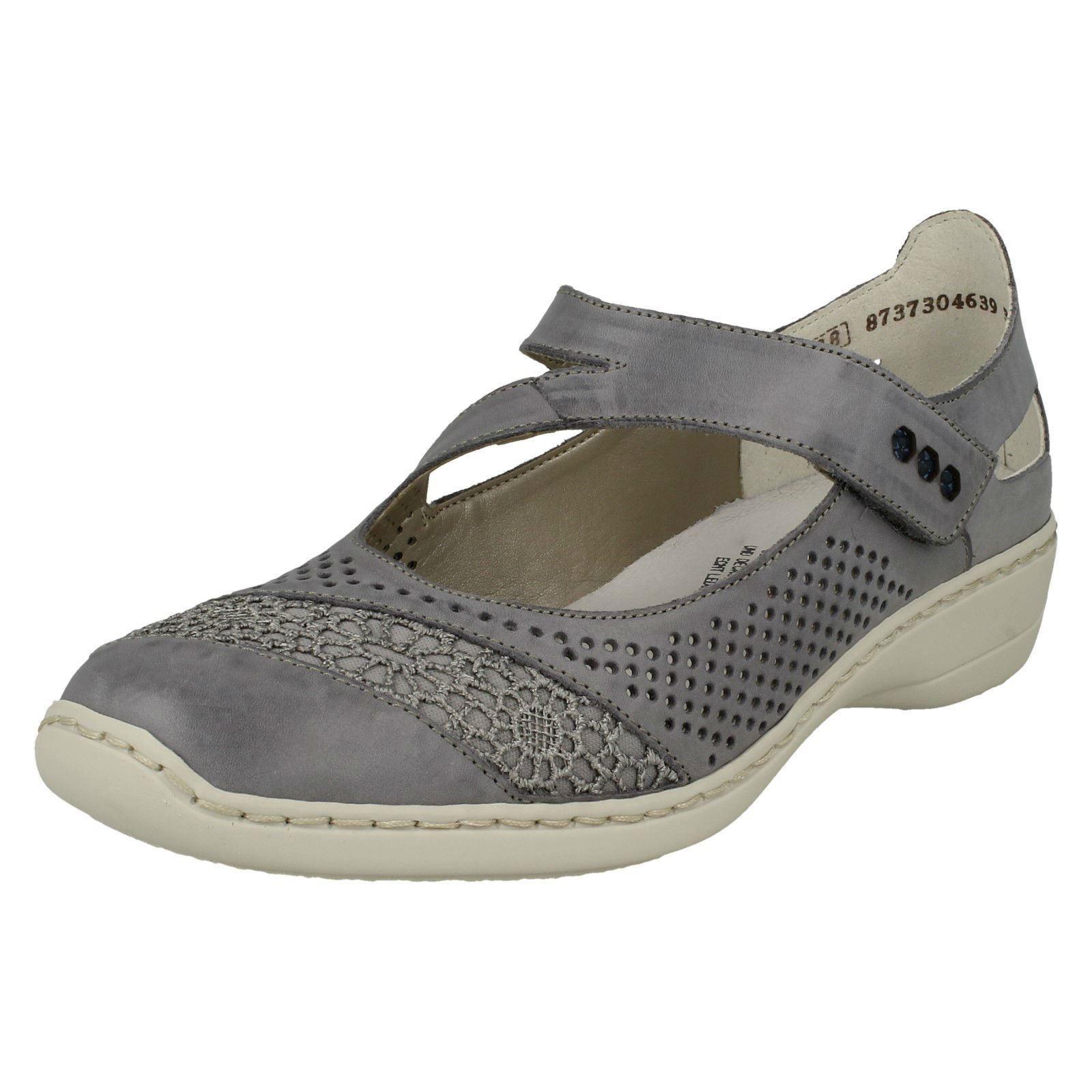 Los zapatos más populares para hombres y mujeres Descuento por tiempo limitado Ladies Rieker 41346 Blue Leather Casual Mary Jane Bar Shoes