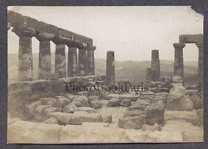 Italia Agrigento Girgenti Tempio Greco Sicilia Foto Vintage Analogica Ca 1900