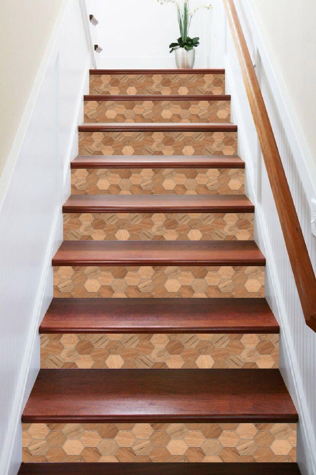 3D brownes Retro Holz 1 Fliesen Marmor Stair Risers Vinyl Tapete Fototapete DE