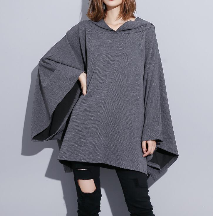 Womens Hooded Asymmetric Hem Batwing Baggy Cloak Oversize Cape Sweatshirt Ths01