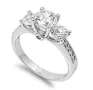 Three-Stone-925-Silver-2-15ct-Simulated-Diamond-Size-8-Engagement-Ring-S14