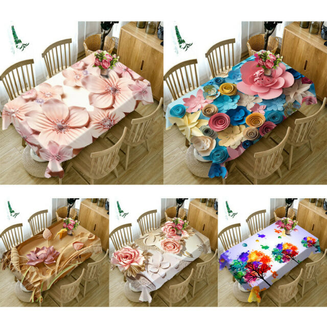 Tablecloth Lace Table Cloths Decoration Rectangular Table Cover Pink Flower