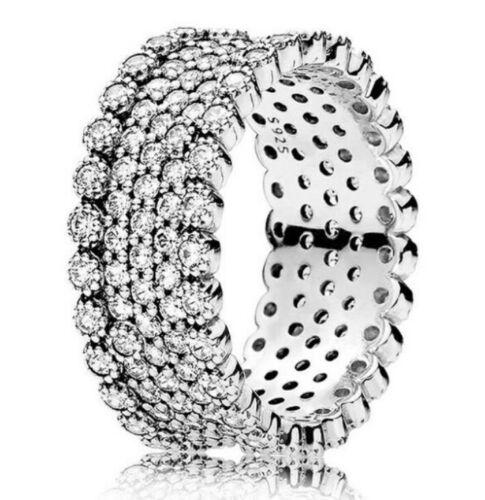 Argent Sterling 925 Lavish Sparkle Anneau clair zircon cubique Taille 6 7 8 9