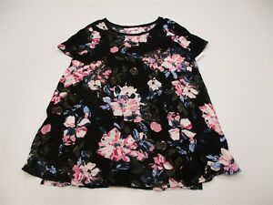 new-ISABEL-MATERNITY-T4467-Women-039-s-Size-S-Scoop-Neck-Black-Floral-Print-Blouse