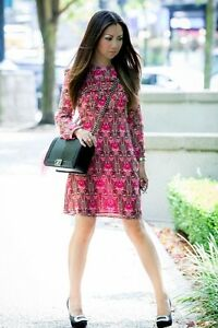 Topshop-Multicolor-Floral-Long-Sleeve-A-Line-Dress-W-Ruffles-4-S-Pink