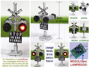 SEMAFORO-BINARI-SIGNAL-mm-30-a-4-LED-ROSSI-MODULO-LAMPEGGIO-ALTERNATO-SCALA-N