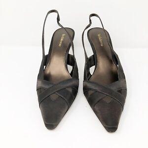 Liz-Claiborne-Women-039-s-9-5-Brown-Satin-Slingback-Heels-Pumps-Sandals-NEW