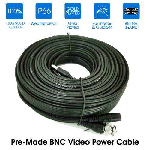 4 x 20M BNC DC Power Lead CCTV Security Camera DVR Video Camera Extension Cables