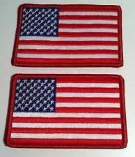 2 United States USA  Flag Iron On Patch American Emblem Red Border