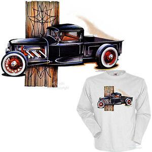 * t-shirt camion hot rod pic car vintage tiki voiture shirt 1222 wh LS