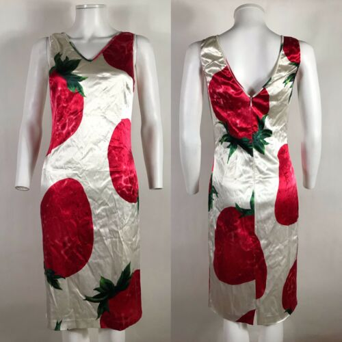 Rare Vtg Dolce & Gabbana Strawberry Print Dress M