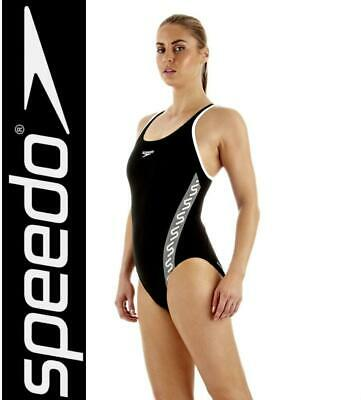 Speedo Womens Placement Muscleback Endurance One Piece Swimsuit Costume Black