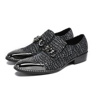 Fashion-Men-039-s-Sexy-Serpentine-Metal-Decor-Slip-On-Loafers-Business-Leather-Shoes