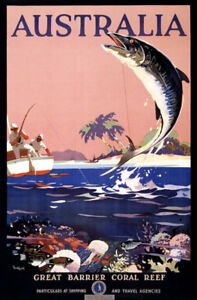 Explore AUSTRALIA Coral Sea Barrier Reef Vintage Poster Reproduction FREE S//H