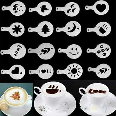 16Pcs Creative Nice Coffee Barista Stencils Template Strew Pad Duster Spray Art