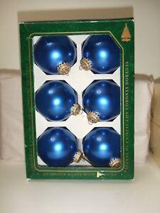 Details About Krebs Designer Glass W Crowns 6pk 2 Christmas Ornaments Blue 331