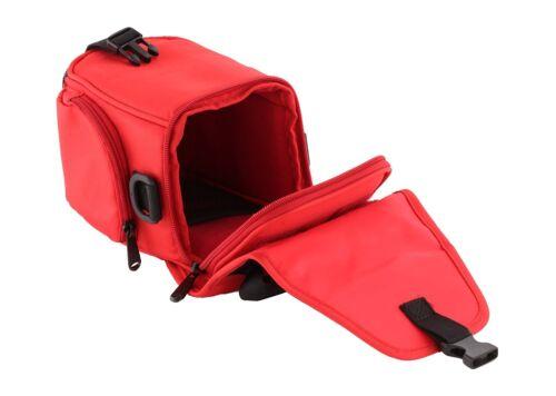 Trendz Funda con correa de cuello y cinturón para cámaras puente Universal Rojo