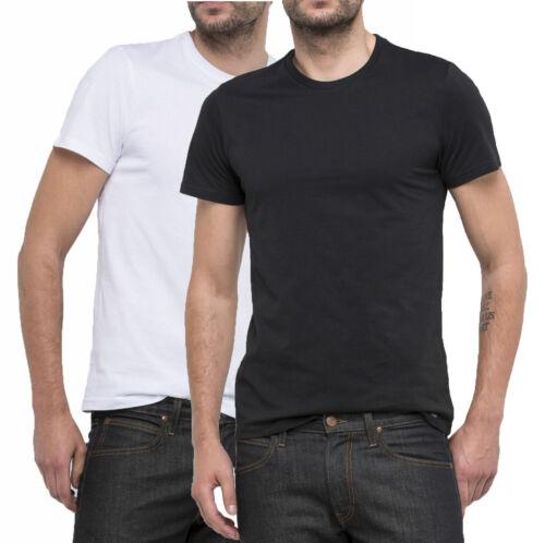 LEE New Men/'s 2 Pack Twin Black /& White Slim Plain Basic Cotton T-Shirt Top