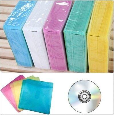 100Pcs CD DVD Double Sided Cover Storage Case PP Bag Sleeve Envelope Holder GU