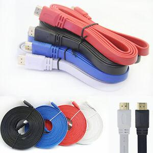 1-5M-3M-5M-10M-V1-4-Flat-HDMI-Cable-M-to-M-For-BLURAY-3D-DVD-PS3-HDTV-XBOX-360