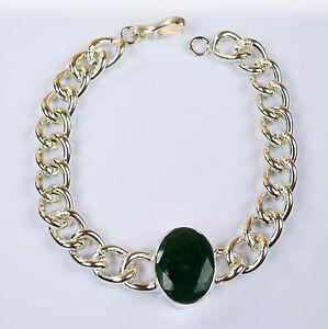 Bracelet-Men-039-s-Fashion-Stainless-Steel-Natural-Emerald-Gemstone-IN-34