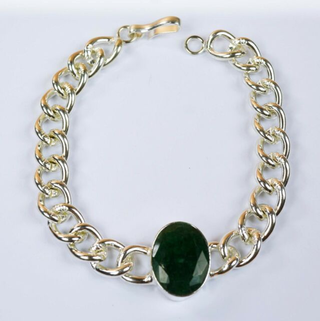 Bracelet Men's Fashion Stainless Steel Natural Emerald Gemstone -IN-34