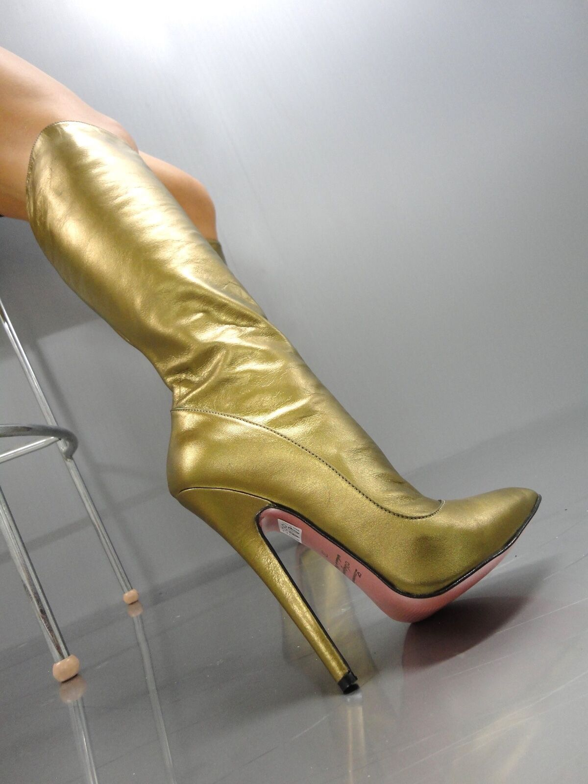 MORI MORI MORI MADE IN ITALY KNEE HIGHEST SEXY BOOTS STIEFEL STIVALI LEATHER gold gold 44 37b15a