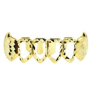 Diamond-Cut Fang Grillz 14k Gold Plated Bottom Vampire ...