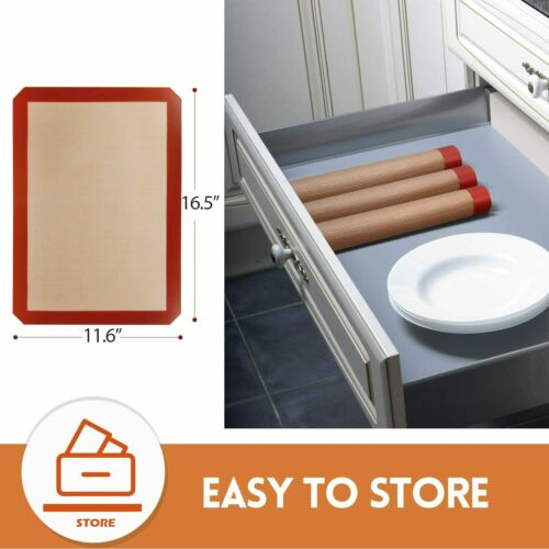 3-Pack Silicone Baking Mat Nonstick Heat Resistant Oven Mats Toaster Liner Sheet
