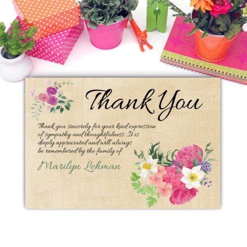 Funeral Thank You Notes Personalized Sympathy Acknowledgement Cards