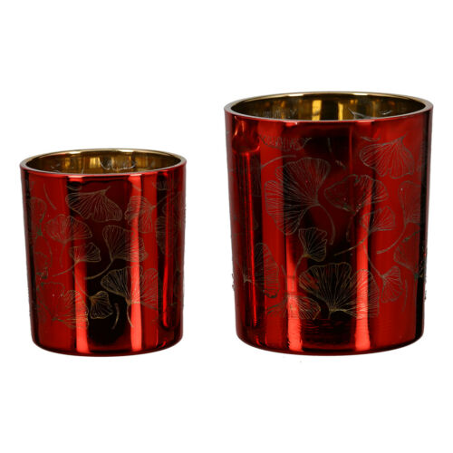 Höhe 8 cm rot//gold links Glas Casablanca Windlicht Ø 7 cm Ginkgo -