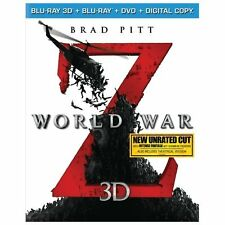 World War Z (2D/3D Blu-ray/DVD, 2013, 3-Disc + Digital copy, Unrated w/slipcover