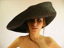 New Hat Black Hand Made Raffia Summer Beach Floppy Funeral  Small Brim