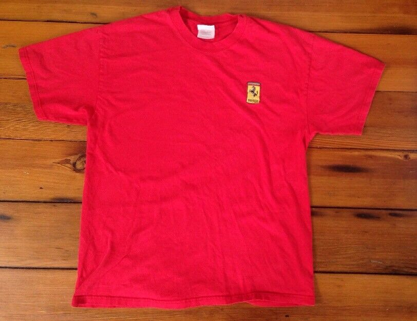 Ferrari Embroidered Logo 100% Cotton Red Hanes Beefy T-Shirt Mens L 42  Chest