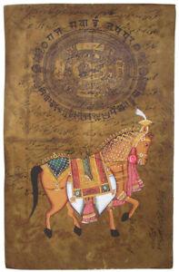 Indisches-Gemaelde-PFERD-horse-altes-orig-Amtspapier-Steinfarben-Mughal-Art-India