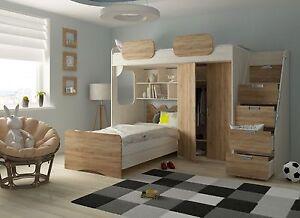 Kinderzimmer Mit Etagenbett : Etagenbett geko rustikal hell multifunktionsbett kinderzimmer