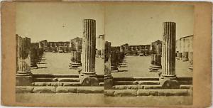 Stéréo, Italie, forum de Pompéi Vintage stereo card,  Tirage albuminé  8,5x1