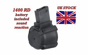 Airsoft-Drum-Mag-BATTLEAXE-1400rd-sound-detector-for-M4-M16-standards-UK-stock