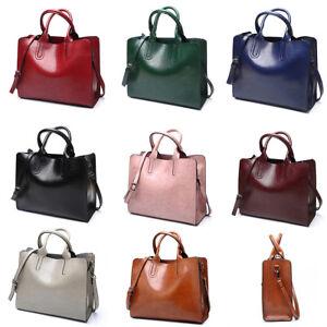 eeaa44a52cb Details about Large Leather Handbag Womens Shoulder Bags Tote Purse  Messenger Hobo Satchel Bag
