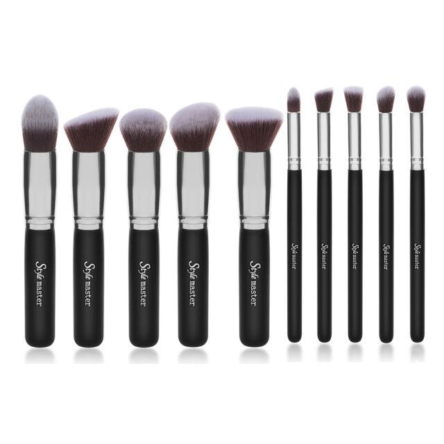 Style master Cosmetic Makeup Brushes Set 10PCS Kabuki Brush With Black Bag Case