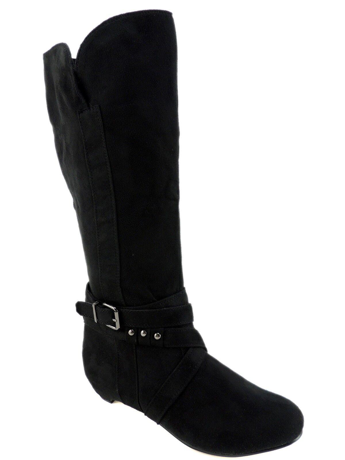 Journee Women's Link-19 Slouch Boots Faux Suede Black Size EU 38 1/2/US 8.5 M