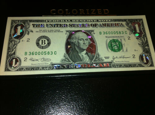COLORIZED LEGAL FEDERAL NOTE GIFT CURRENCY ONE SILVER HOLOGRAM DOLLAR BILL