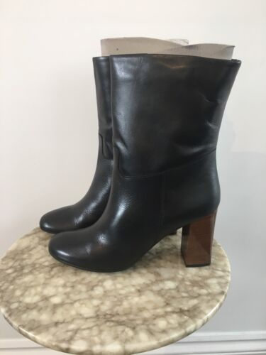 New Heel Uk 39 Women's Lewis Roel Black Leather John Kin Block av Boots 6 Eu przwxqTZp