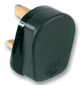 Pro-elec Rubber Hi-impact Safety 13A Plug Top with Fitted 13Amp Fuse BLACK
