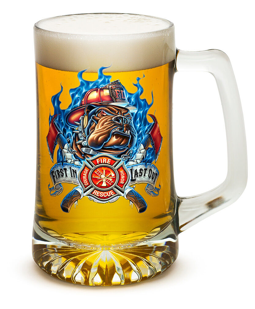 RESCUE FIREDOG FIRST IN, LAST OUT FIREFIGHTER 25 OZ  LARGE TANKARD BEER GLASS