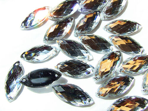 240 Clear Crystal Teardrop Marquise Bead 7x15 mm Rhinestone Gems Flatback Sew on