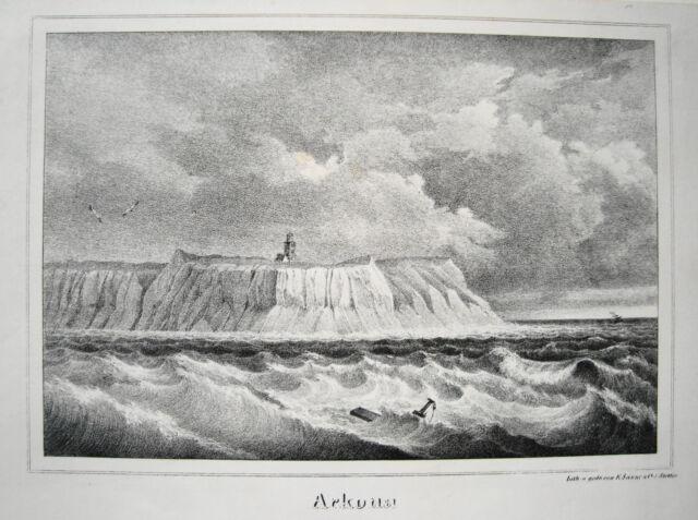 Rügen Arkona Leuchtturm  Mecklenburg - Vorpommern  alte  Lithographie Sanne 1840