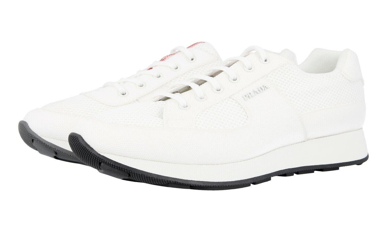 Auth LUXURY PRADA scarpe da ginnastica 4E3246 Bianco Nuovo 8 42 42,5