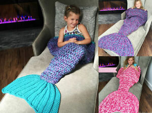 Kids Crocheted Mermaid Tail Blankets Handmade Lapghan Beach Cocoon Knitted UK
